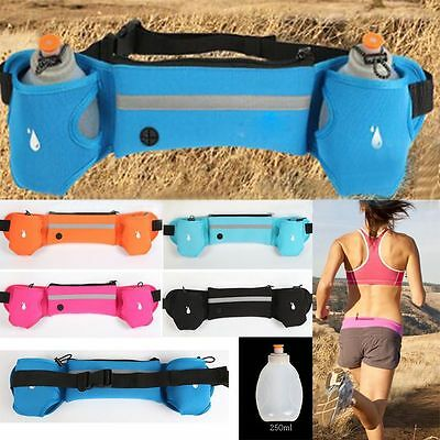 Sport Fitness Waist Bum Bag Running Jogging Marathon Pouch Belt +2 Water Bottles