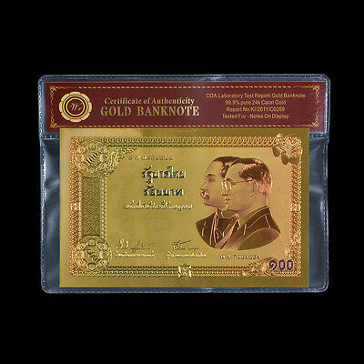 WR Thailand 100 Baht 2002 Commemorative Style Gold Foil Banknote with COA Sleeve