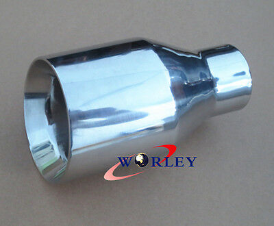 """2.3"""" inlet Stainless Steel angle cut round Exhaust Tip 4"""" outlet 7"""" long"""