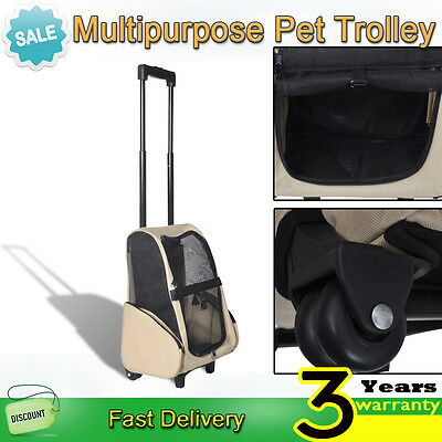 Portable Pet Stroller Dog Cat Puppy Carrier Travel Kennel Crate Cage Bag Trolley