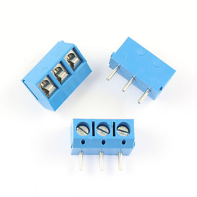 50Pcs Blue 5mm 5.0mm Pitch 3 Pin PCB Right Angle Screw Terminal Block Connector