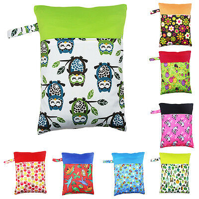 Waterproof  Printed Zipper Baby Cloth Diaper Nappy Wet Dry Bag Swimming Tote