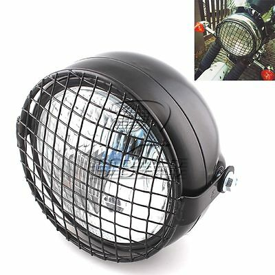 """6.5""""  Universal Motorcycle Front Headlight + Metal Grill Cover Cafe Racer GN125"""