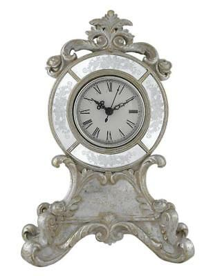 Vintage Style Filigree Antiqued Silver & White Table Mantel Desk Clock Baroque
