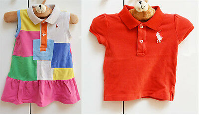 Polo Ralph Lauren Baby Girl's Dress + Polo Top Designer x2 Sz 12 Months /1 Year