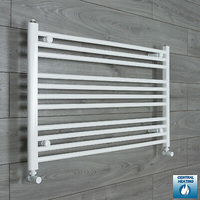1000 mm Wide 600 mm High Flat White Heated Towel Rail Radiator Bathroom Kitchen