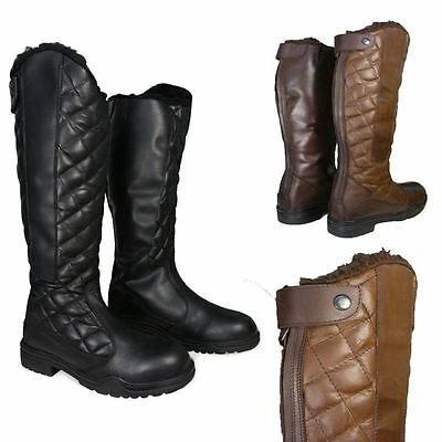 Ladies / Mens Horse Riding Fur Lined Yard Country Walking Tall Leather Boots NEW