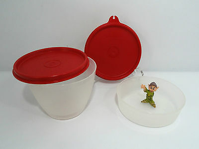 New Tupperware  Set of 2 Snack Cup and Half Snack Giant Smidgets Red Seals