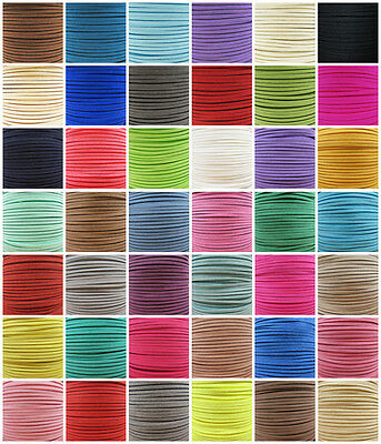 3mm FAUX SUEDE FLAT CORD *43 COLOURS* JEWELLERY MAKING COLOURFUL STRINGING CRAFT
