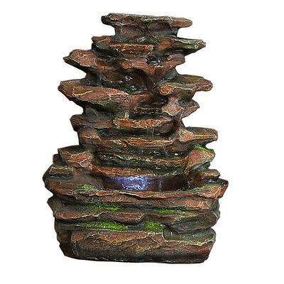 Sunnydaze Decor Soothing Rock Falls Tabletop Fountain w/ LED Lights