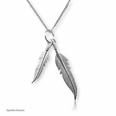 Double feather necklace 925 sterling silver - angel cute gift pendant curb chain