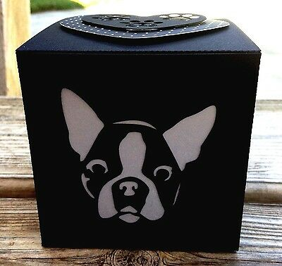 Boston Terrier Gift LED Flameless Candle Luminary Glowbox