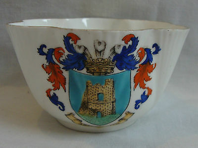 Shelley Crested China Fluted ribbed Bowl c1896 - Aberystwyth - good condition