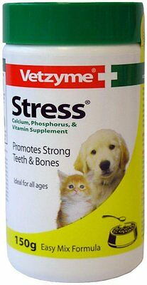 Vetzyme Stress Powder for Dogs and Cats, 150g - Dog/Puppy/Animal