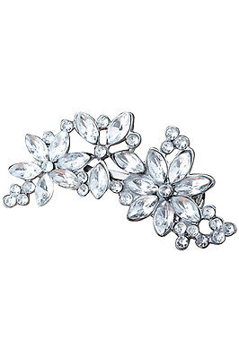 Silver Women's Rhinestone Flower Crystal Hair Clip Jewelry YM