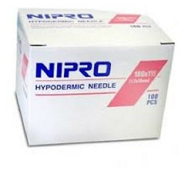 """Nipro 18G x 1 1/2 """" Hypodermic Needle -Box of 100- Comes in Sterile Blister Pack"""
