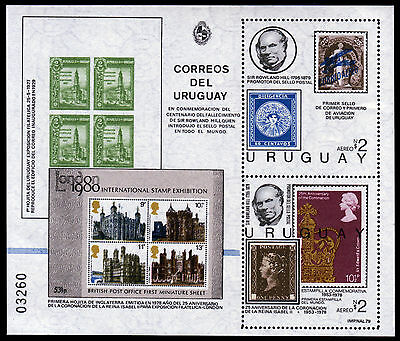 Uruguay Bl. 45 **, 100. Todestag Sir Rowland Hill, stamp on stamp