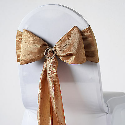 10 Gold CRINKLED Taffeta CHAIR SASHES Ties Bows Wedding Ceremony Decorations
