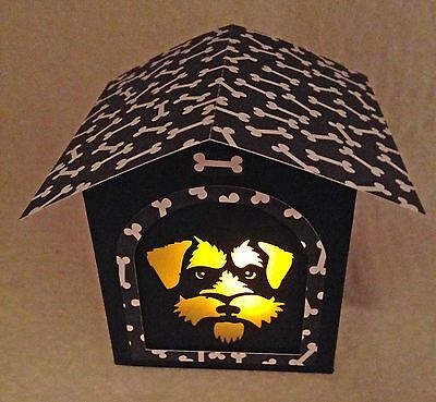 Schnauzer Gift Glowbox Black and White  Doghouse LED Candle Luminary