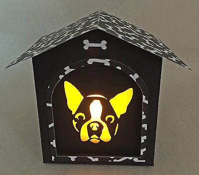 Boston Terrier Gift Black and White Doghouse LED Candle Luminary