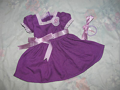 American Girl Doll Emily Purple Holiday Dress & Hairbow