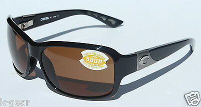 COSTA DEL MAR Inlet 580P POLARIZED Sunglasses Womens Black/Amber 580 NEW