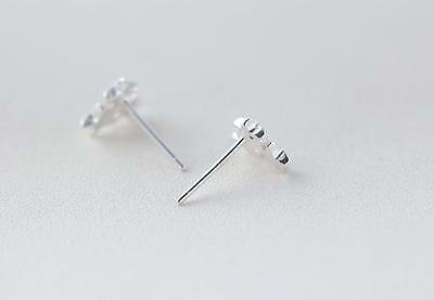 Solid 925 Sterling Silver Glossy Polished Three Heart Stud Earrings Gift Pouch