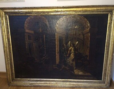 "Amazing Antique Oil Painting ""Angel Frees Apostle Peter From Prison"" 1840s"