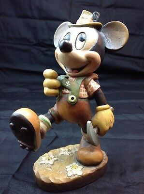 """Disney ANRI 6"""" Mickey Mouse Hiking Wood Carving Italy Limited Edition Figurine"""