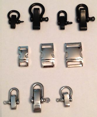 Metal Tactical Survival Buckle Shackle/Clevis Pin for Bracelet Collar Paracord