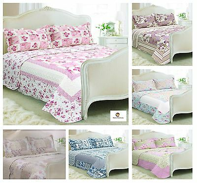 Vintage Country Cottage Style Floral Patchwork Quilted Bedspread 230X240CM Set