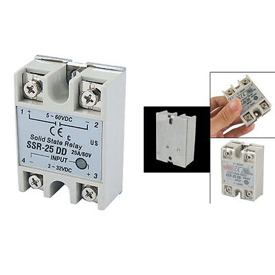 New Plastic Metal Solid State Relay SSR DC-DC 25A 3-32VDC/5-60VDC YM