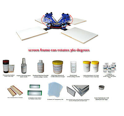 4-4Press Machine Kit: 4Color 4Station Silk Screen Printing Equipment + Materials