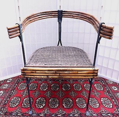 Rare! ANTIQUE ASIAN WROUGHT IRON AND RATTAN CHAIR Hand Forged Iron 19th Century