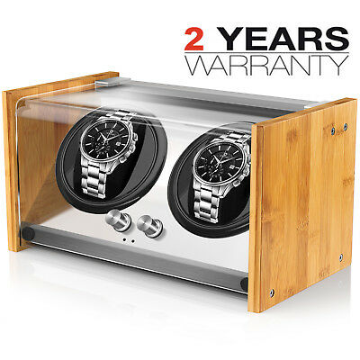 Bamboo Crystal Automatic Rotation Luxury Double Watch Winder Display Box