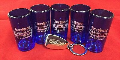 Jose Cuervo Tradicional - 5 Shot Glasses And 1 Key-Ring With Bottle Opener..new!