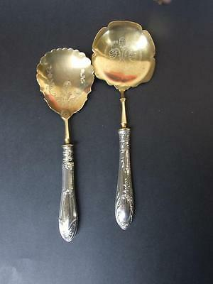 Antique Russian 84 Silver Cutlery Serving Spoons Engraved Gilded w Fruits1900's