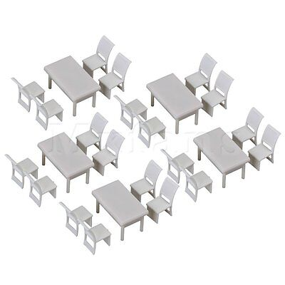 5 x Dollhouse Miniature Furniture Modern Dining Room Square Table Chair Set 1:50