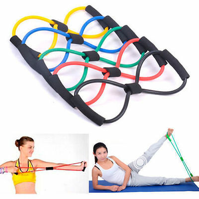 Resistance Band Yoga Pilates Abs Exercise Stretch Fitness Tube Workout Bands GU