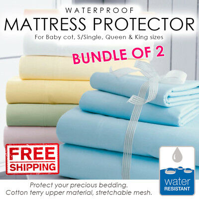 SOL Bundle of 2. Waterproof Bed Mattress Protector Cover Sheet Fitted Sheet
