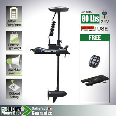 AQUOS 24V 80Lbs Variable Speed Bow Mount Electric Trolling Motor & Quick Mount