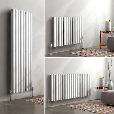 Horizontal Vertical Designer Oval Column Panel Bathroom Modern Radiators White