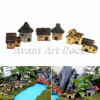 DIY Craft Garden Ornament Thatched Cottage Mini Dollhouse Decor Micro Landscape