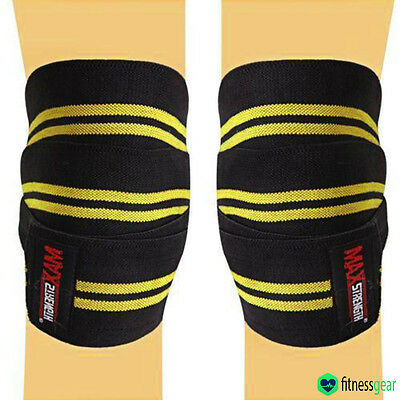 "Knee Wraps Weight Lifting Bandage Straps Guard Pads 84"" Pair Powerlifting Sport"