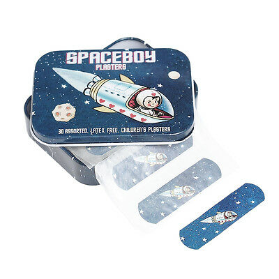 dotcomgiftshop 30 ASSORTED SPACBOY DESIGN LATEX FREE CHILDRENS PLASTERS IN A TIN