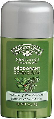 Organics Deodorant Stick, Nature's Gate, 1.7 oz 1 pack Tea Tree & Blue Cypress