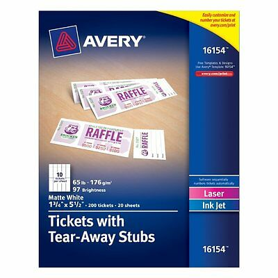 Avery Tickets with Tear-Away Stubs, 1.75 inches x 5.5 inches, Matte White, Pack