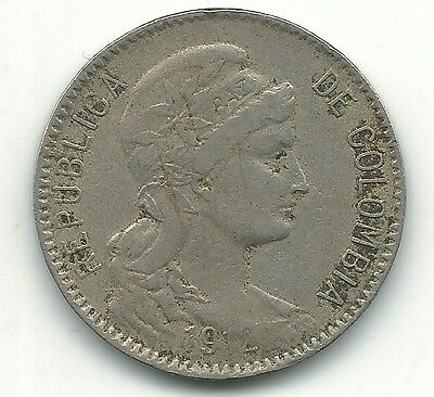 A Very Nice 1912 Colombia Five - 5 Pesos Coin-Aug067
