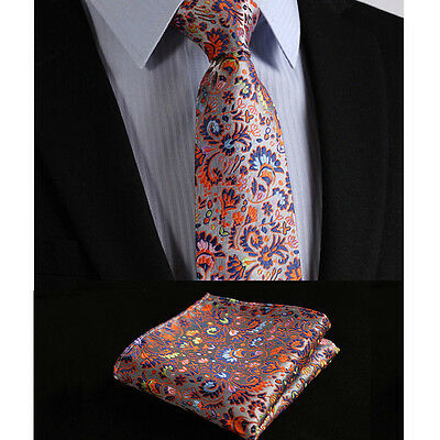 Mens Tie Handkerchief Wedding Necktie Hanky Multi Pink Orange Blue Gift Woven