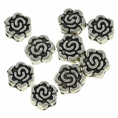 50 Roses Spacer beads 7mm Spacer Flowers silver Metal beads flower beads